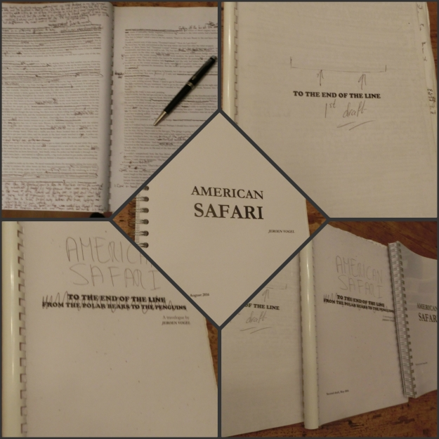 """First draft, second draft, and the proofread version of """"American Safari"""""""